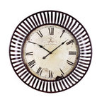 Old World French Oversize Banded Metal Wall Clock - *This oversized wall clock with its banded iron framing makes a great statement in any room.