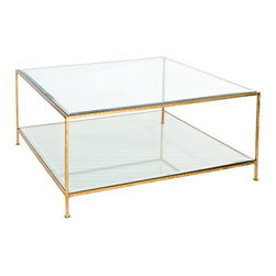 Worlds Away - Worlds Away Hammered Gold Leaf Square Coffee Table QUADRO G - Hammered gold leaf square coffee table with beveled glass tops.