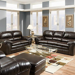 Simmons Upholstery - Riverside Bonded Leather 3 Piece Sofa Set - 6159-SLC - Set includes Sofa, Loveseat and Chair
