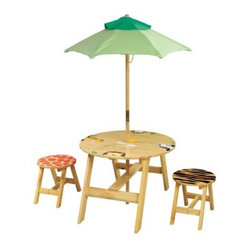 Teamson Design Sunny Safari Outdoor Table and Chair Set with Bench - About Teamson DesignBased in Edgewood, N.Y., Teamson Design Corporation is a wholesale gift and furniture company that specializes in handmade and hand painted kid-themed furniture collections and occasional home accents. In business since 1997, Teamson continues to inspire homes with creative and colorful furniture.