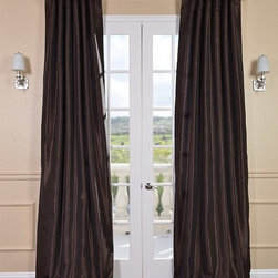 Coffee Bean Vintage Textured Faux Dupioni Silk Curtain - Our Vintage Textured Faux Silk curtains & drapes have a slight sheen that mimics the finest texture of silk dupioni. These curtains bring the look of luxury without the cost or high-maintenance care. Built-in are two header designs within a single panel. The attached back tabs for a formal pleated look and a traditional pole pocket.
