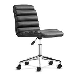 Zuo Modern - Upholstered Modern Office Chair - Sleek and comfy shape. Soft padded seat and back. Adjustable height. Rolling base. Steel frame. Made from leatherette. Minimal assembly required. Weight capacity: 200 - 250 lbs.. Seat depth: 15.9 in.. Seat height: 17.1 - 21.2 in.. Overall: 18.3 in. W x 23.6 in. D x 31.1 - 34.4 in. H (22 lbs.)