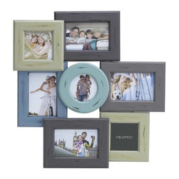 Melannco - Melannco 7-Opening Distressed Wood Collage - This Melannco 7-Opening Distressed Wood Collage is a decorative way to display your favorite photos. This frame is comprised of a combination of rectangle and square frames centered by a round frame, each with a distressed finish of a different color.