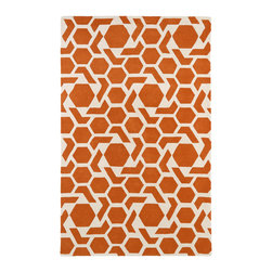 Kaleen - Kaleen Revolution Collection Rev05-89 3'X5' Orange - The color Revolution is here! Trendy patterns with a fashion forward twist of the hottest color combinations in a rug collection today. Transform a room with the complete color makeover you were hoping for and leaving your friends jealous at the same time! Each rug is hand-tufted and hand-carved for added texture in India, with a 100% soft luxurious wool.