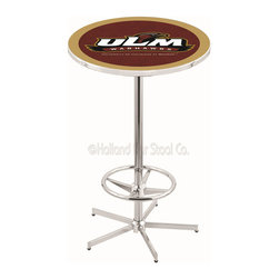 Holland Bar Stool - Holland Bar Stool L216 - 42 Inch Chrome Louisiana-Monroe Pub Table - L216 - 42 Inch Chrome Louisiana-Monroe Pub Table  belongs to College Collection by Holland Bar Stool Made for the ultimate sports fan, impress your buddies with this knockout from Holland Bar Stool. This L216 Louisiana-Monroe table with retro inspried base provides a quality piece to for your Man Cave. You can't find a higher quality logo table on the market. The plating grade steel used to build the frame ensures it will withstand the abuse of the rowdiest of friends for years to come. The structure is triple chrome plated to ensure a rich, sleek, long lasting finish. If you're finishing your bar or game room, do it right with a table from Holland Bar Stool.  Pub Table (1)