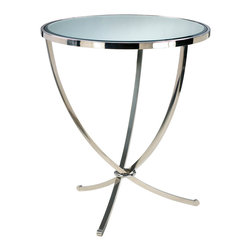 Kathy Kuo Home - Nuovo Silver Contemporary Mirrored Pedestal Entry Table - This piece has a classic 20th century pedigree: one part Hollywood Regency, one part Mid Century Modern.  From deco styled apartments to desert homes and beyond, this three-legged table serves up sleek lines and a healthy dose of glossy chrome.