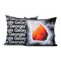 "Cartoloji - Georgia Map Pillow, Charcoal - The pillow features a topographical map of the state on the front and the state name text on the reverse. Pillow cover is made from 100%  certified organic cotton sateen and is printed with eco-friendly inks. Pillow insert is a non-allergenic faux-down poly-fill. Pillow dimensions: 17"" x 17"". Hand wash or dry clean. Made in the USA. Listing is for 1 double sided pillow."