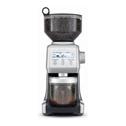 """Breville - Smart Grinder - Features: -Smart grinder. -Hardened stainless steel conical burrs. -Backlit LCD screen displays 25 grind settings, number of cups / shots and customized grind amount. -Dosing IQTM automatically calibrates each adjusted dose. -1 lbs Bean hopper. -Locking system for easy removal, storage and transfer of beans. -Overall dimensions: 15.5"""" H x 6"""" W x 8.25"""" D."""