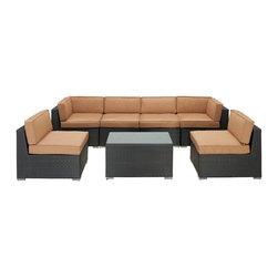 LexMod - Aero Outdoor Wicker Patio 7 Piece Sectional Sofa Set in Espresso with Mocha Cush - Introduce aerodynamic comfort with the Aero Outdoor Sectional Set. Welcome your friends and family to a motivational setting of exceptional appeal. Aero is a versatile seating environment built for patio, backyard or pool areas in need of something dynamic.