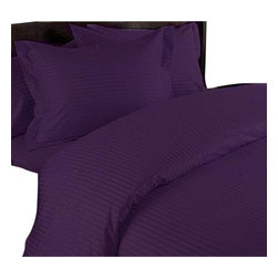 SCALA - 1000Tc Stripe Purple Color King Size 3Pc Duvet Set - 100% Egyptian Cotton - We offer supreme quality Egyptian Cotton bed linens with exclusive Italian Finishing. These soft, smooth and silky high quality and durable bed linens come to you at a very low price as these come directly from the manufacturer. We offer Italian finish on Egyptian cotton, which makes this product truly exclusive, and owner's pride. It's an experience and without it you are truly missing the luxury and comfort!!
