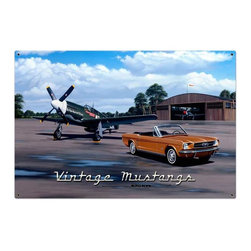Past Time Signs - Nostalgic  Mustangs Metal Sign 36 x 24 Inches Inches - - Width: 36 Inches