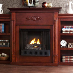 Holly & Martin - Tennyson 70.25 in. Gel Fireplace w 2 Bookcase - Includes metal firebox, cement log, faux coal cinder and screen kit. Fuel not included. Ventless.  Three shelves on each bookcase. Fluted columns on either side of the firebox. Beautiful media room accent. Traditional crown molding. Symmetrical medallion appliqu̩. Supplements heat to save on energy consumption. FireGlo gel fuel snaps and crackles like real wood. Emits no smoke, odor and ash. Holds upto 3 cans of gel fuel simultaneously for full bodied 6 - 8 in. flame. Each can of FireGlo produces upto 3000 BTU. Metal firebox withstands more than 9000 BTUs to safely handle gel fuel. Mantel supports upto 85 lbs.. Made from poplar and MDF with Veneer. Assembly required. Shelf: 10 in. W x 8.5 in. D x 10 in. H. Bookshelf: 13.25 in. W x 10.75 in. D x 39.5 in. H. Overall: 70.25 in. W x 14 in. D x 42.25 in. H (157 lbs.)None of the mess of a wood burning fireplace. For the person who loves to curl up with a good book by the fire, this classic mahogany fireplace accommodates perfectly. On each side there is a bookshelf to display your favorite classic books. The mantel itself is adorned with tall slender. Portability and ease of assembly are just two of the reasons why our fireplace mantels are perfect for your home. Requiring no electrician or contractor for installation allows instant remodeling without the usual mess or expense. In addition to your living room or bedroom, try moving this fireplace to your dining room for romantic dinners or complement your media room with a ventless fireplace below your flat screen television. Use this great functional fireplace to make your home a more welcoming environment.