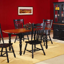 Sunset Trading - 6 Pc Drop Leaf Extension Table Set (Black & C - Finish: Black & CherryIncludes table, 4 chairs and 2 door buffet with hutch. Sunset Collection. Solid handcrafted hardwood extension table perfect for the smallest of spaces yet opens to 72 in. L. Removable 18 in. L leaf and two 10 in. L drop leafs converts from 34 in. L x 34 in. W up to 72 in. L x 34 in. W. Aspen style chair with comfort back. Aspen style back. Scooped seat. Steel reinforced turned legs. Hand crafted solid wood and wood veneer buffet and lighted hutch. Raised panel doors with adjustable shelf. Intricate crown molding along the top. Glass doors and glass shelves. Pictured in Black and Cherry. Assembly required. 1-Year manufacturer's warranty. Table: 72 in. L x 34 in. W x 30 in. H (114.17 lbs.). Chair: 21 in. W x 20.5 in. L x 42 in. H (19.89 lbs.). Buffet: 37.50 in. W x 17.50 in. D x 31 in. H (76.82 lbs.). Hutch: 36 in. W x 12 in. D x 44 in. H (81.09 lbs.)This beautifully designed furniture will assure you many years of use and enjoyment.