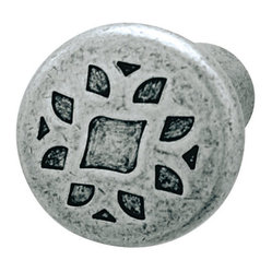 Hafele - Pewter Cabinet Knobs - Hafele item number 135.82.900 is a beautifully finished Pewter Cabinet Knobs. Product Diminsion(s): Hole Spacing: 32.004 mm. / 1 1/4 in.Diameter: 35.052 mm. / 1 3/8 in.Projection: 53.086 mm. / 2 3/32 in.