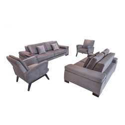 Fabric Sofa Living Room Set - Alora 4 pc -