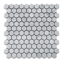 Bianco Carrara White Marble Honed Mini Hexagon Mosaic Tile - Mosaic tiles for the shower floor are a must so that you can get the proper pitch to the drain. Hexagons are my favorite.