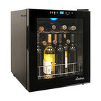 Vinotemp - 15-Bottle Touch Screen Wine Cooler - Maintain your small wine collection in the Vinotemp 15-Bottle Touch Screen Wine Cooler. The VT-15 TS features a handsome design with black body and tinted glass door with magnetic seal and recessed handle. A touch screen control panel and digital temperature display allows wines to be set at different settings. This freestanding, countertop wine cooler also has adjustable feet for leveling, an interior light to illuminate bottles as well as a control safety lock to disable access.