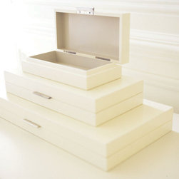 Barbara Barry Lacquer Storage Box - These gorgeous boxes are storage that you'll want to leave out on dispaly all the time. Use them for jewelry, love letters, mailing supplies, whatever you'd like to keep out of view but like to keep handy.