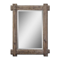 Uttermost - Claudio Wood Mirror - Frame is rustic, light walnut stained wood with burnished details.