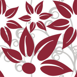 Odhams Press - Hibiscus Red RETile Decal, Clear Background - RETile decals can be used to accent or transform your existing ceramic, stone or glass tiles. They are easy to apply and can be removed in the future without leaving a sticky residue.