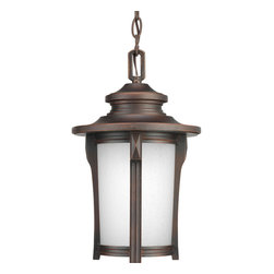 """Progress Lighting - Progress Lighting P6503-97 1-Light 9"""" Hanging Lantern with Etched Seeded Glass - Progress Lighting P6503-97 1-Light 9"""" Hanging Lantern with Etched Seeded Glass Cylinder"""