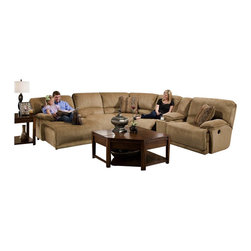 "Catnapper - Catnapper Grandover 6 Piece Sectional Sofa in Sandstone and Ginger - Catnapper - Sectionals - 1626KIT - The Grandover Collection by Catnapper offers generously proportioned pieces upholstered in sandstone color soft durable chenille fabric. Reversible correlating bolster pillows featuring """"ginger"""" pattern upholstery altogether with decorative welts add more visual appearance to the entire collection. Storage console is provided with luxurious burl finish cupholders. This sectional includes RSF Reclining Chaise Armless Chair Armless Recliner LSF Recliner Wedge and Storage Console with 2 Cupholders. Matching rugs and occasional tables as well as Glider Recliner are available as an option. Enjoy this amazingly comfortable and durable collection in your home!"