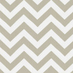 Taupe Zig Zag Fabric - Love the Chevron! Featured in a soft taupe shade this Chevron print is the perfect answer to your decorating needs. Its neutral tones are a perfect blend with any color. Try mixing with our Taupe Dots and Stripes prints for even more options.