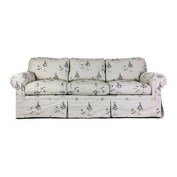 "Consigned Sofa With 'Diva' Upholstery - Price Reduced!  Bring out your inner Diva! Take a seat and eat bon-bons on this flirty and fun, large sofa.  We love the bold 'diva' printed upholstery.  White background with black motif.  There are some stains on the upholstery. Spot cleaning will be necessary. Dacron wrapped foam construction on detached cushions.  Measurements: Height of arm 26"" Height of seat 19"""