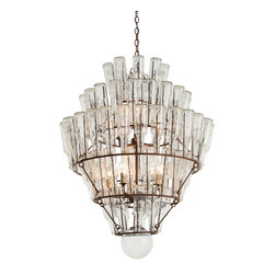 Kathy Kuo Home - Canton Rustic Iron Vintage Glass Bottle Chandelier - Wow your guests (and yourself) with this awe-inspiring glass chandelier. When you look closer, you'll discover it's made entirely of vintage glass bottles, cascading down a series of rustic iron wire and beams. The bottles reflect the chandelier's interior lighting in gorgeous patterns across your home. Imagine this beauty hanging over a large reclaimed wooden dining table in your modern loft space.