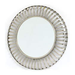 Kelsey Mirror - Vintage Farmhouse Kelsey Mirror is designed to add a conventional tinge to your decor. This vintage styled mirror serves you both functional as well as decorative needs. Manufactured with iron, this elegant mirror is designed with scaling pattern finished with nickel polish on its outer core. Make your home decor simply a eye catchy one with this traditional piece. Craftsmen have given a perfect finish to this piece in a completely unique style. This Kelsey mirror will surely enhance the look of the room wherever it is placed. It can be a perfect addition for your hallways as well. Order the one for you without paying any additional charges for shipment.