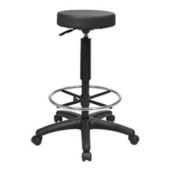 Office Star - Backless Stool w Nylon Base and Adjustable Fo - Thick Padded seat. Pneumatic seat height adjustment. Height Adjustment 23 in. to 33 in.. Adjustable Chrome foot ring. Heavy duty Nylon base with dual wheel carpet casters. Seat: 13.5 in. W x 13.5 in. D x 2.75 in. T. Seat Height Min: 23. Seat Height Max: 33. Seat Travel: 10. Overall: 26 in. W x 26 in. D x 33 in. H (22 lbs.)