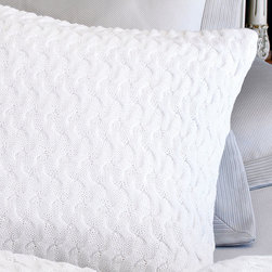 Majorca White Square Pillow - The wandering paths of soft knit that cross the surface of the Majorca Square Pillow weave into a wondrously elegant texture - too curvaceous to be a grid, but with the same simple geometric appeal that looks so charming in traditionally-inspired homes and transitional arrangements. Whether used on the bed or the sofa, this decorative pillow has a delightful impact.