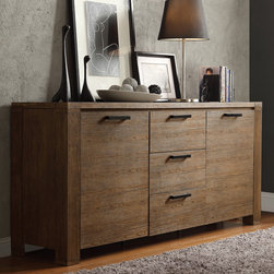 Inspire Q - INSPIRE Q Catalpa Walnut Finish Weathered Highboard - Our Myra II collection is a versatile set of furniture. Its modern rustic design with walnut finish also gives a clean,bold country look. Three deep middle drawers in the middle provide storage for small odds and ends,flatware or tableware