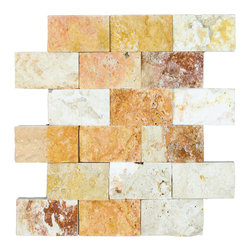 STONE TILE US - Stonetileus 4 pieces (4 Sq.ft) of Mosaic Antique Blend 2x4 Split Face - STONE TILE US - Mosaic Tile - Antique Blend 2x4 Split Face Specifications: Coverage: 1 Sq.ft size: 2x4 - 1 Sq.ft/Sheet Piece per Sheet : 18 pc(s) Tile size: 2x4 Sheet mount:Meshed back Stone tiles have natural variations therefore color may vary between tiles. This tile contains mixture of gold - white - light brown - dark brown - yellow - copper - red - ivory - and color movement expectation of high variation, The beauty of this natural stone Mosaic comes with the convenience of high quality and easy installation advantage. This tile has Split Face surface, and this makes them ideal for walls, kitchen, bathroom, outdoor, Sheets are curved on all four sides, allowing them to fit together to produce a seamless surface area. Recommended use: Indoor - Outdoor - High traffic - Low traffic - Recommended areas: Antique Blend 2x4 Split Face tile ideal for walls, kitchen, bathroom,Free shipping.. Set of 4 pieces, Covers 4 sq.ft.