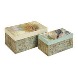"IMAX CORPORATION - Burton Coastal Boxes - Set of 2 - This set of two boxes feature coastal collage designs and are great for adding a splash of color to any nautical decor. Set of 2 in various sizes measuring around 18.75""L x 13.75""W x 17.5""H each. Shop home furnishings, decor, and accessories from Posh Urban Furnishings. Beautiful, stylish furniture and decor that will brighten your home instantly. Shop modern, traditional, vintage, and world designs."