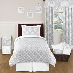 Sweet Jojo Designs - Sweet Jojo Designs 4-piece Diamond Childrens Comforter Set - This delightful 4-piece diamond twin bedding collection will create a designer room with modern flair. This unisex bedroom set features an exclusive Sweet Jojo Designs gray and white diamond print paired with solid white in 100-percent cotton fabrics.