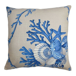 The Pillow Collection - Maj Blue 18 x 18 Coastal Throw Pillow - - Pillows have hidden zippers for easy removal and cleaning  - Reversible pillow with same fabric on both sides  - Comes standard with a 5/95 feather blend pillow insert  - All four sides have a clean knife-edge finish  - Pillow insert is 19 x 19 to ensure a tight and generous fit  - Cover and insert made in the USA  - Spot clean and Dry cleaning recommended  - Fill Material: 5/95 down feather blend The Pillow Collection - P18-D-21010-NATURALBLUE-L55R45
