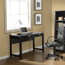 None - Modern Design Espresso Contemporary Workstation Desk - Whether your style is traditional or modern this elegant workstation desk with an espresso finish will blend perfectly with your home or office decor. This desk offers convenient closed storage areas and an ample work surface.