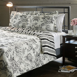 None - Cordoba Black Full/ Queen-size 3-Piece Duvet Cover Set - This microfiber duvet cover set features a rich black color with white accents in a traditional Jacobean pattern. The duvet cover reverses to a striped pattern.