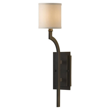 Murray Feiss - Murray Feiss Stelle Transitional Wall Sconce X-BRO0741BW - Clean lines and contemporary styling give a universal and classy look to this Murray Feiss wall sconce. From the Stelle Collection, it features a rich Oil Rubbed Bronze finish that compliments the lines and curves. A stylish cream colored linen shade completes the look.