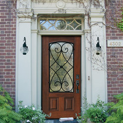 Glasscraft 39 s premium fiberglass arch lite door with for Masonite belleville door price