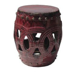 Golden Lotus - Dark Red Ceramic Clay Join Coin Round Stool Ottoman - Besides being a garden stool, this kind of stool is getting popular for decorating indoor home. It is mostly use as a table base/ small coffee table, plant stand or simply as a decor item. ( please understand there is a variation in the finish for the hand glazed item ) ( touch up marks from manufactory , please see photos for details )
