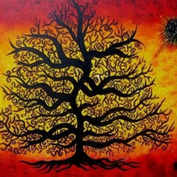 """ Dancing Tree Of Life"" (Original) by Michael Casiano - I have painted the Piece different sizes which did take some time to do at the buyers request. what a blessing it is to paint this piece as it is pleasing to the eye and a meaningful. This is an image of which I use for my Logo and a very popular piece. The canvas and box frame was built by me and ready to hang, a raw piece of Art."