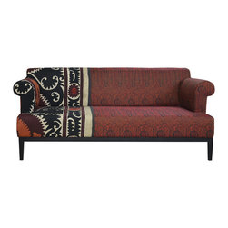 Kathy Kuo Home - Vintage Suzani Red Paisley Global Bazaar Sofa - For truly distinctive seating, add a one-of-a-kind carpeted couch to your decor. Hand-dyed vintage kilim in a most unusual pattern upholsters, this sumptuous piece, boasts a frame of kiln-dried hardwood and plush, supportive feather-down blend cushions.