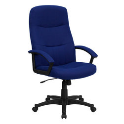 Flash Furniture - Flash Furniture High Back Navy Blue Fabric Executive Swivel Office Chair - This office chair is not only economical, but very comfortable and attractive. The fabric padded arms highlights the chair features along with the vertical and horizontal line tufting. Get an upgrade on your home or office seating with this fabric upholstered chair.