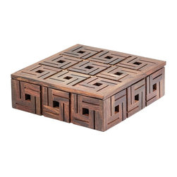 Lazy Susan - Lazy Susan 784071 Chocolate Teak Patterned Box - Small - Here's a little box that sure packs a big punch. It's handcrafted of natural teak in a warm brown finish and gets extra points for its fancy fretwork. It comes in two sizes, either 9 or 12 inches square.