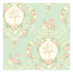 Brewster Home Fashions - Maybelle Mint Cameo Damask Wallpaper. - Bring a fashionable and ladylike charm into your home with this gorgeous mint damask wall covering. Bright pink, green and yellow floral scrolls sweep effortlessly across a gorgeous landscape of pearlescent cameos and neutral accents.
