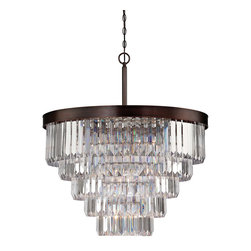 Savoy House - Savoy House 1-9802-9-28 Tierney 9 Light Chandelier - Create a one-of-a-kind glamorous glow in any space with the Tierney collection from Savoy House, which combines Burnished Bronze frames and graduated columns of shining optic acrylic elements.