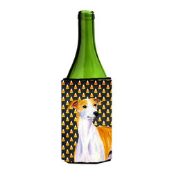 Caroline's Treasures - Whippet Candy Corn Halloween Portrait Wine Bottle Koozie Hugger - Whippet Candy Corn Halloween Portrait Wine Bottle Koozie Hugger Fits 750 ml. wine or other beverage bottles. Fits 24 oz. cans or pint bottles. Great collapsible koozie for large cans of beer, Energy Drinks or large Iced Tea beverages. Great to keep track of your beverage and add a bit of flair to a gathering. Wash the hugger in your washing machine. Design will not come off.