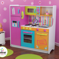 KidKraft - Personalized Deluxe Big and Bright Toy Kitchen - Kids will feel just like mom and dad when they cook up fun with the Deluxe Big and Bright Kitchen from KidKraft. This wooden play kitchen is cute, colorful and built to last! Features: -Bright multicolored finish -Made of wood -Recommended for ages 3 and up -Refrigerator, freezer, oven and microwave open and close -See-through doors on oven and microwave -Knobs on oven and sink turn and click -Convenient storage above and below the sink -Water graphics on the dishwasher -Large enough for multiple children to play at once -Assembly required -120 day replacement warranty against defects in materials and workmanship -Limit 10 characters- letters A-Z only.